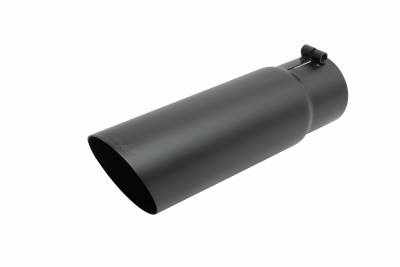 Gibson Performance Exhaust - Gibson Performance Exhaust Black Ceramic Single Wall Angle Exhaust Tip 500552-B