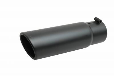 Gibson Performance Exhaust - Gibson Performance Exhaust Black Ceramic Rolled Edge Angle Exhaust Tip 500646-B