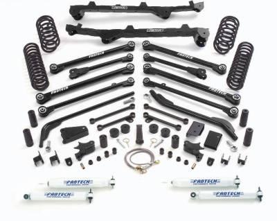 Fabtech - Fabtech 6in LONGARM W/FRT & RR CS & PERF SHKS 97-02 JEEP TJ ALL MODELS 4WD K4016
