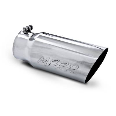 "MBRP Exhaust - MBRP Exhaust Tip, 5"" O.D. Angled Single Walled  4"" inlet  12"" length, T304 T5052"