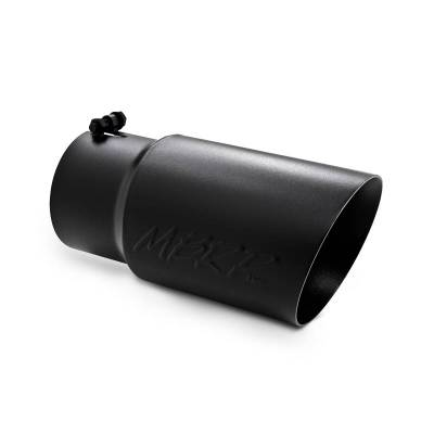 """MBRP Exhaust - MBRP Exhaust Tip, 6"""" O.D. Dual Wall Angled  5"""" inlet  12"""" length - Black Coated T5074BLK"""
