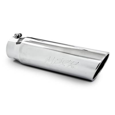 """Exhaust - Exhaust Tips - MBRP Exhaust - MBRP Exhaust Tip, 5"""" O.D., Angled Rolled End, 4"""" inlet 18"""" in length, T304 T5124"""