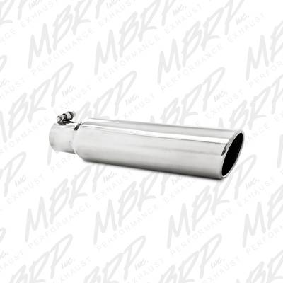 """Exhaust - Exhaust Tips - MBRP Exhaust - MBRP Exhaust 3.5"""" OD, 2.5"""" inlet, 16"""" in length, Angled Cut Rolled End, Clampless-no weld T5142"""