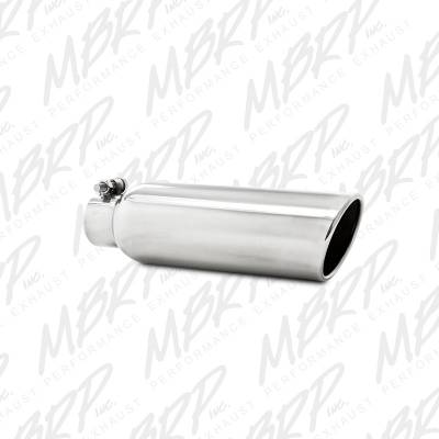 """Exhaust - Exhaust Tips - MBRP Exhaust - MBRP Exhaust 3.5"""" OD, 2.25"""" inlet, 12"""" in length, Angled Cut Rolled End, Clampless-no weld T5147"""